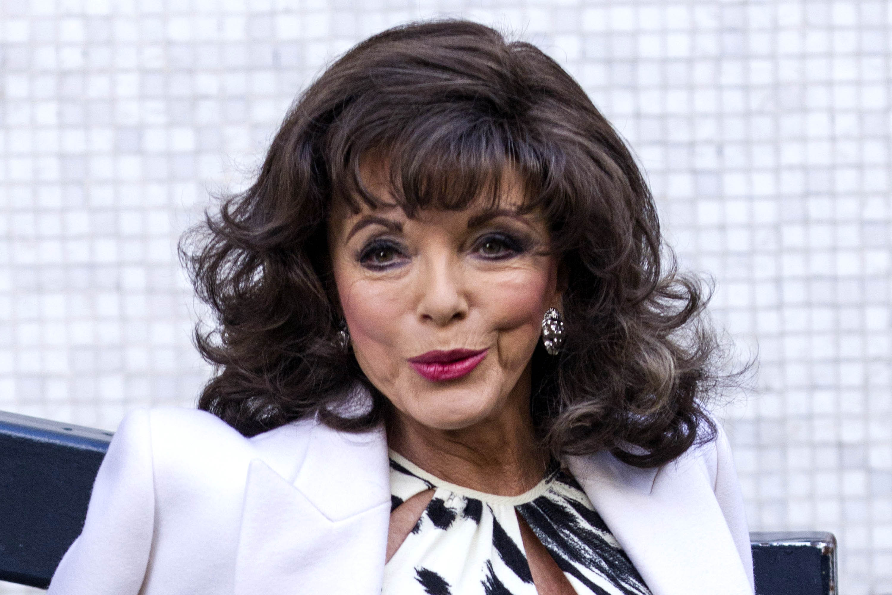 Joan Collins arriving at the ITV studios, London.